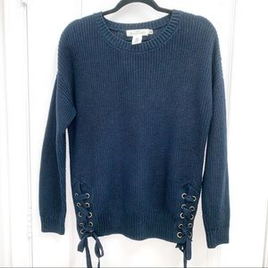 H&M L.O.G.G Lace Up Ties Navy Sweater